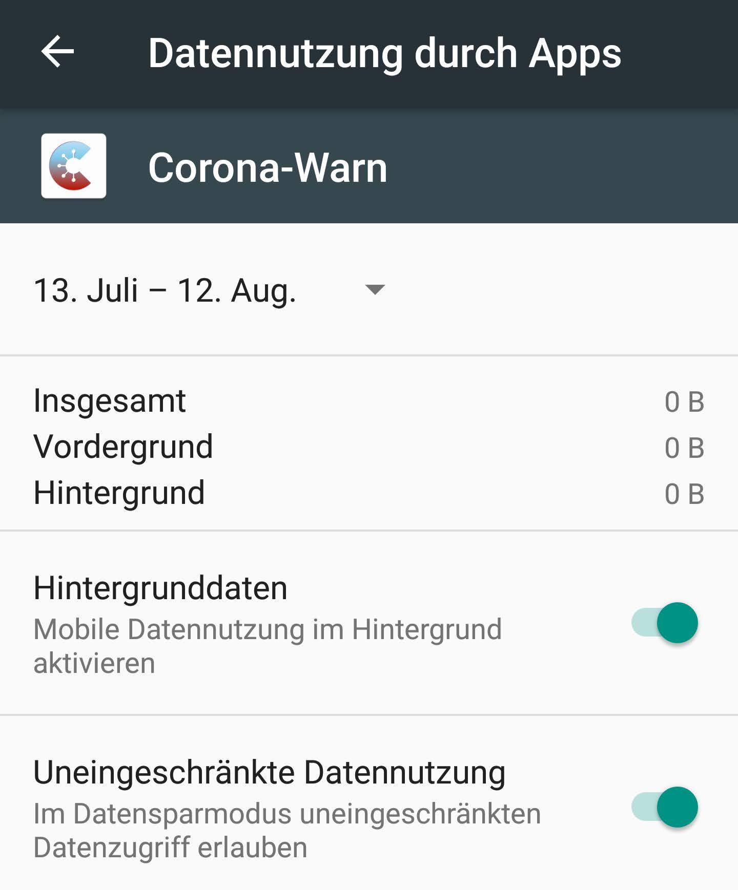 Corona-Warn-App: Hintergrundaktivitäten für Android einschalten