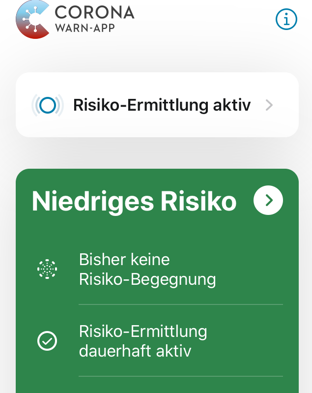 Corona-Warn-App Risiko-Ermittlung dauerhaft aktiv