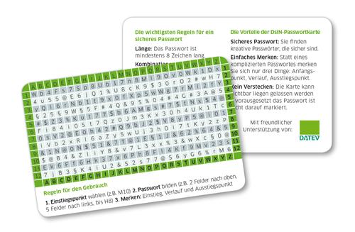 DsiN-Passwortkarte zum leichten Merken starker Passwörter