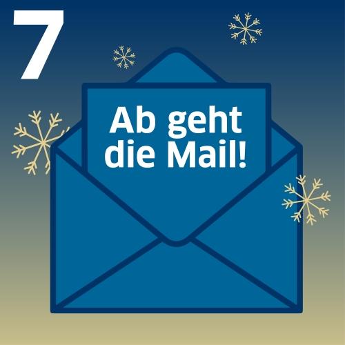 E-Mail-Symbol mit Aufschrift: Ab geht die Mail