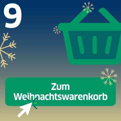 Einkaufskorb mit Aufschrift: Zum Weihnachtswarenkorb