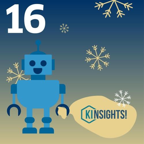 Roboter mit Jutesack mit KInsights!-Logo