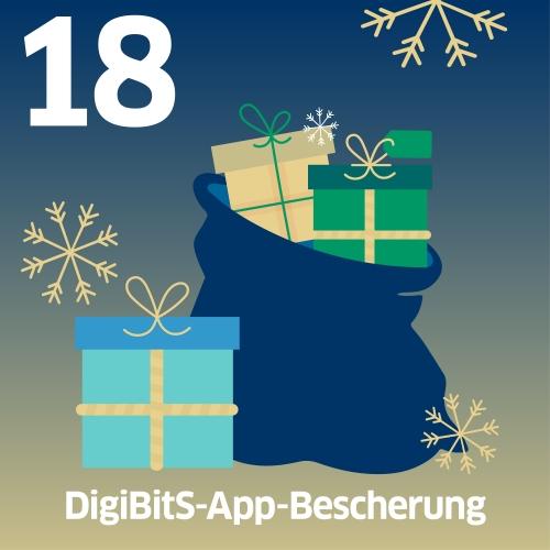 Sack mit Geschenken und Schrift: DigiBitS-App-Bescherung