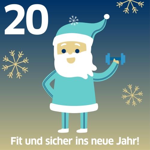Weihnachtsmann hebt Hantel, Text: Fit und sicher ins neue Jahr