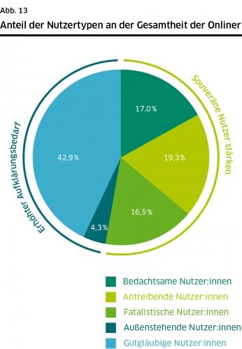 DsiN-Sicherheitsindex 2021: Anteil der Nutzertypen an der Gesamtheit der Onliner