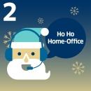 """Weihnachtsmann mit Headset und Schriftzug: """"HO HO HOMEOFFICE"""""""