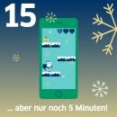 Smartphone mit Spiel und Text: Nur noch fünf Minuten