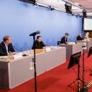 Vorstellung des DsiN-Sicherheitsindex 2021, v.l.n.r. Tobias Weber (Kantar), Thomas Tschersich (DsiN-Vorstandsvorsitzender), Dr. Michael Littger (DsiN), Prof. Dr. Christian Kastrop (Staatssekretär BMJV), Serena Holm (DsiN-Mitglied Schufa Holding),