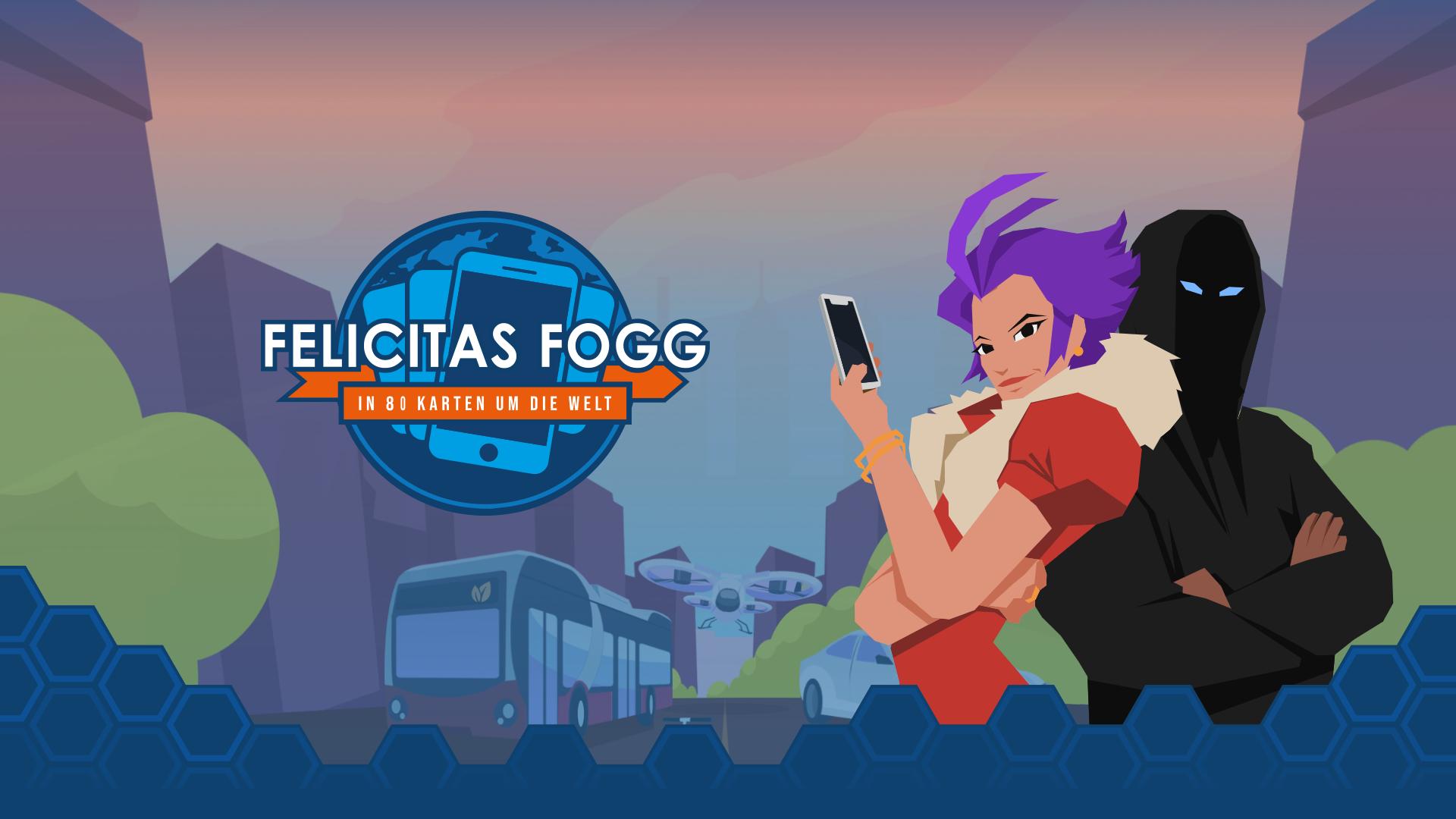 Felcitas Fogg, in 80 Karten um die Welt Hauptfigur und Logo