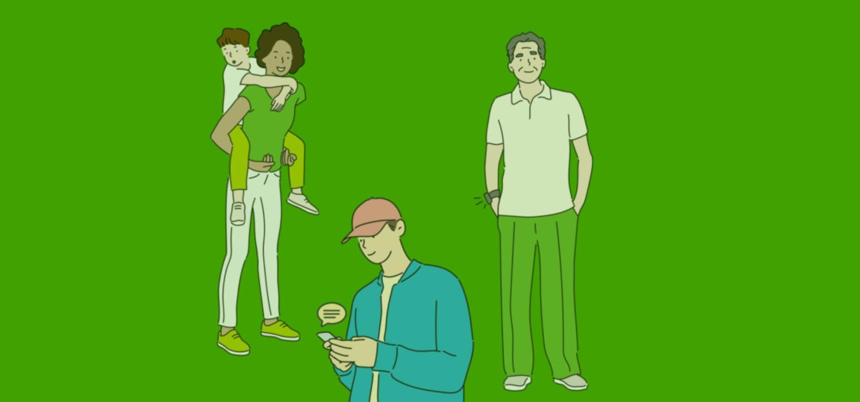 Cyberfibel Titelbild: Illustrationen von Menschen, die digitale Geräte nutzen