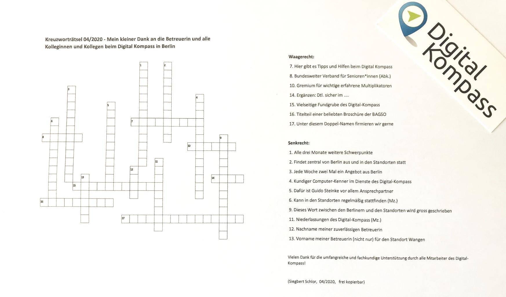 Digital-Kompass Kreuzworträtsel Headerbild