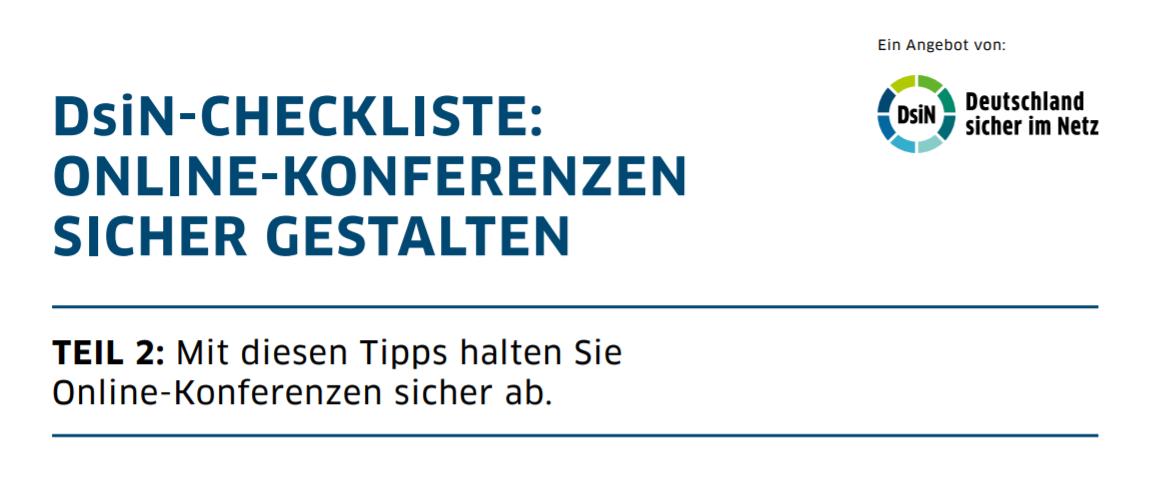 Titelbild: DsiN-Checkliste Online-Konferenzen