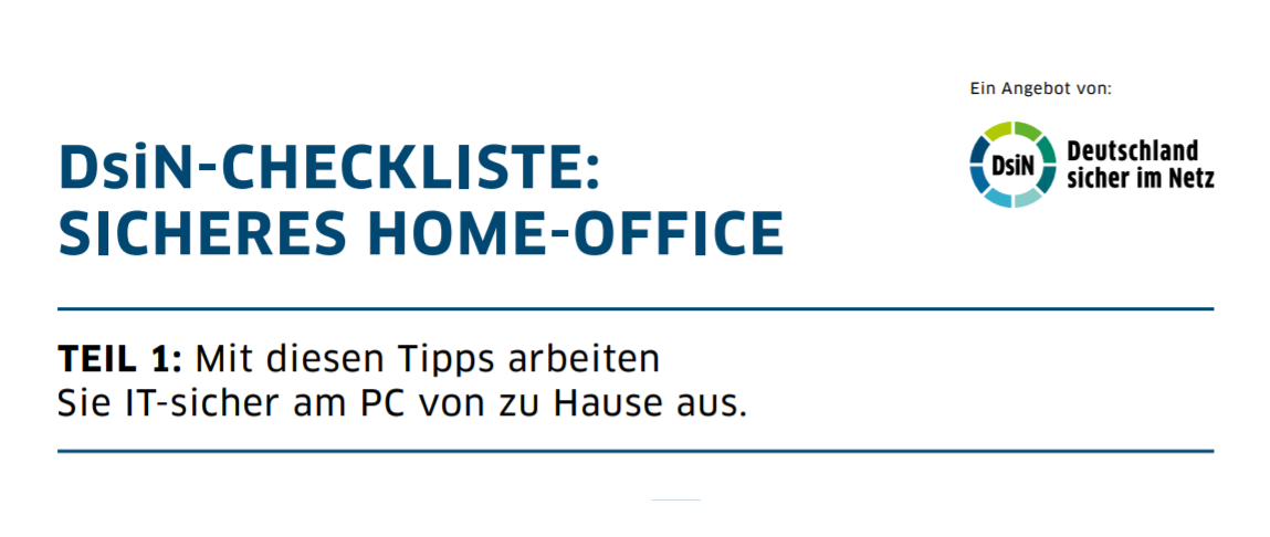 Titelbild DsiN-Checkliste Sicheres Home-Office