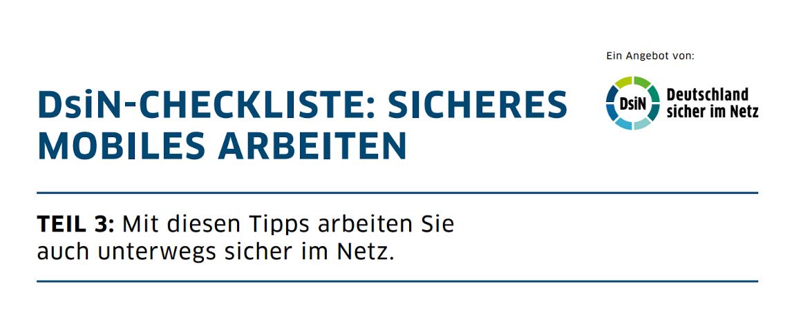 Titelbild: DsiN-Checkliste Sicheres mobiles Arbeiten