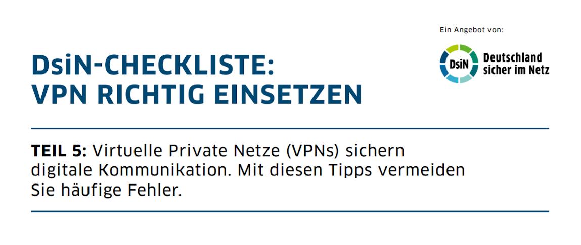 Titelbild: DsiN-Checkliste VPN RICHTIG EINSETZEN