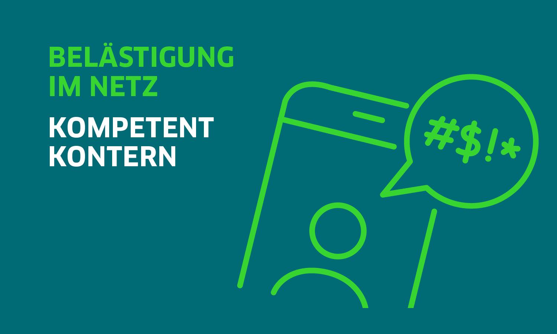 Titelbild: DsiN-Ratgeberreihe mit Schriftzug Belästigung im Netz kompetent kontern