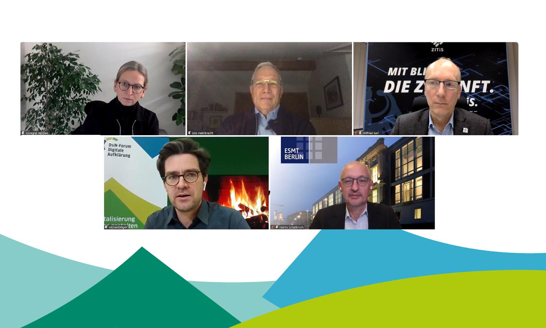 Teilnehmende DsiN-Kamingespräch v.l.n.r: Dr. Annegret Bendieck, Prof. Dr. Udo Helmbrecht, Wilfried Karl, Dr. Michael Littger, Martin Schallbruch